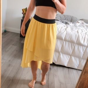 Yellow Guess High Low Skirt
